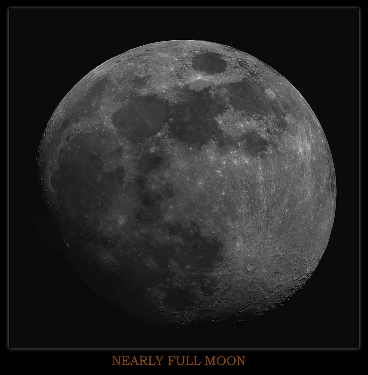 Nearly full Moon ,Taken with the Atik 2HS, 13 Pane Mosiac,processed in Photoshop