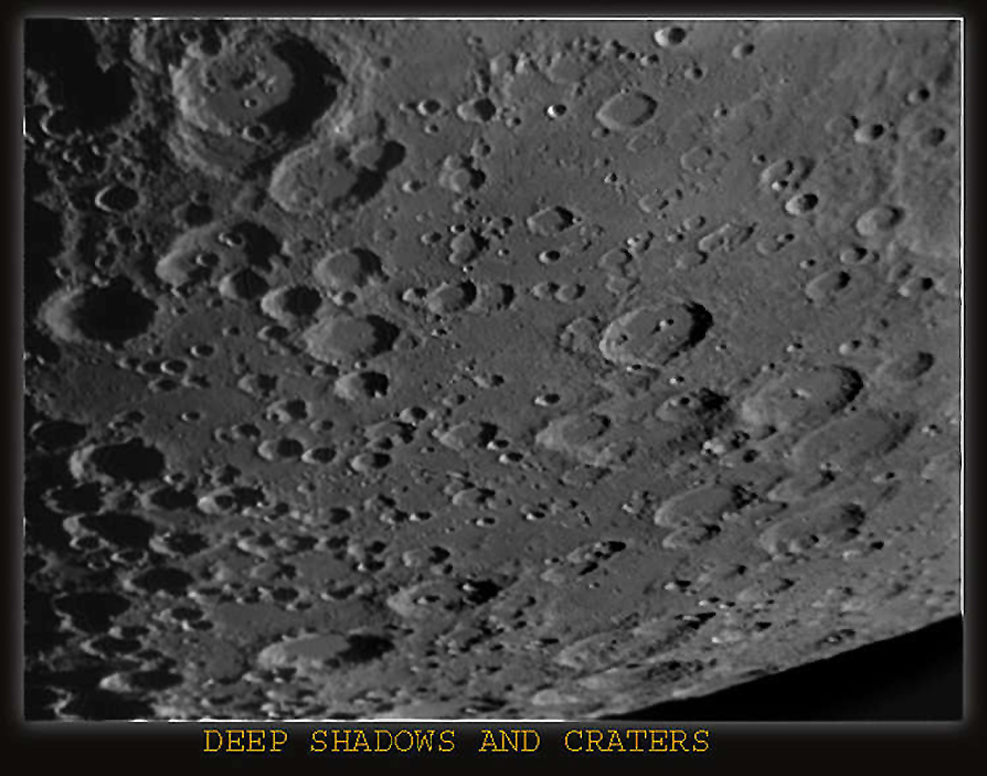 Craters and Shadows, Taken with the DMK CCD.