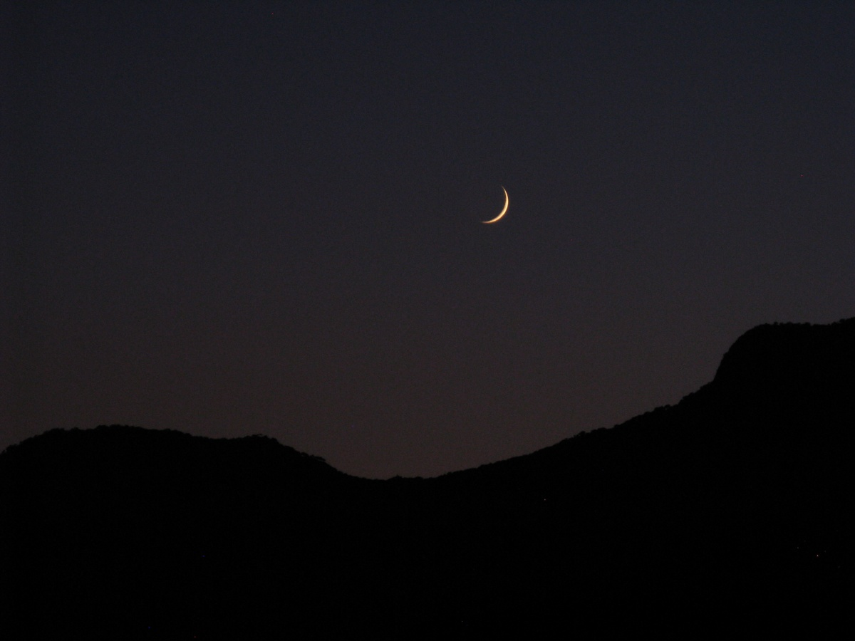 Cresent moon setting just after sunset in Turkey 4/07/2011