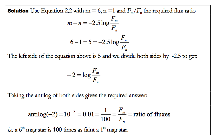 Calculating the Flux Ratio of two stars - Physics, Space