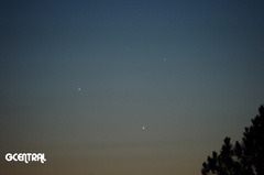 Mercury (top), Jupiter (left) & Venus (right) Conjunction May 27, 2013