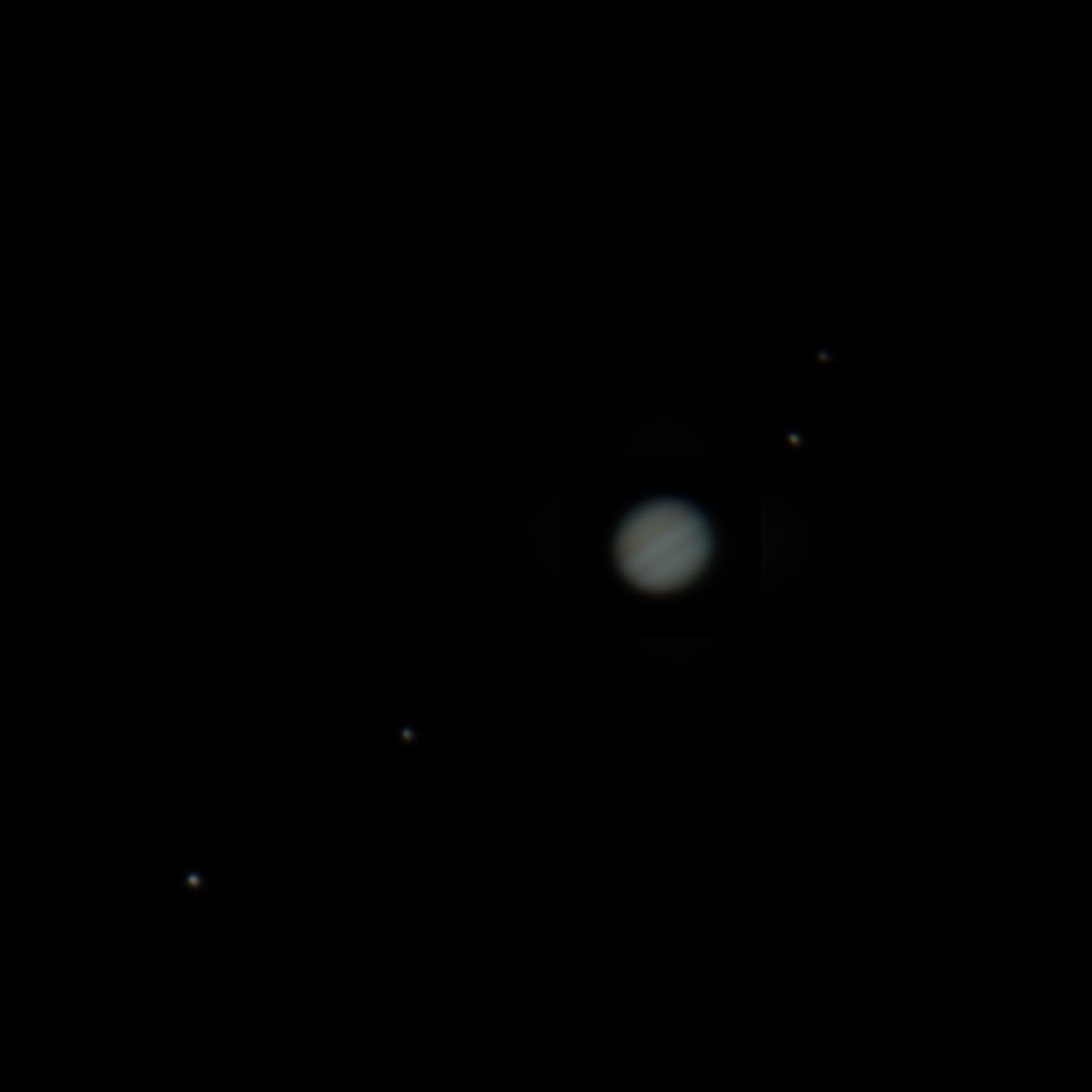 Jupiter and Moons, two images superposed one on top of the other with GIMP