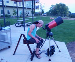 Looking through my newly acquired Celestron nexstar 8SE from the comfort of my newly built Denver observing Chair