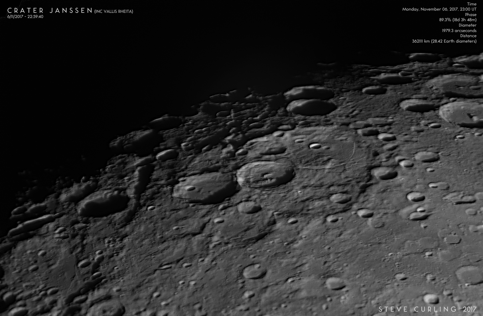 Crater Janssen (inc Vallis Rheita)