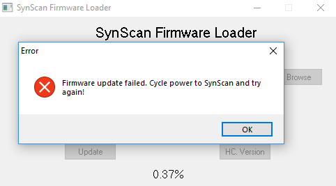 Unable to update SynScan V3 hand controller - Discussions