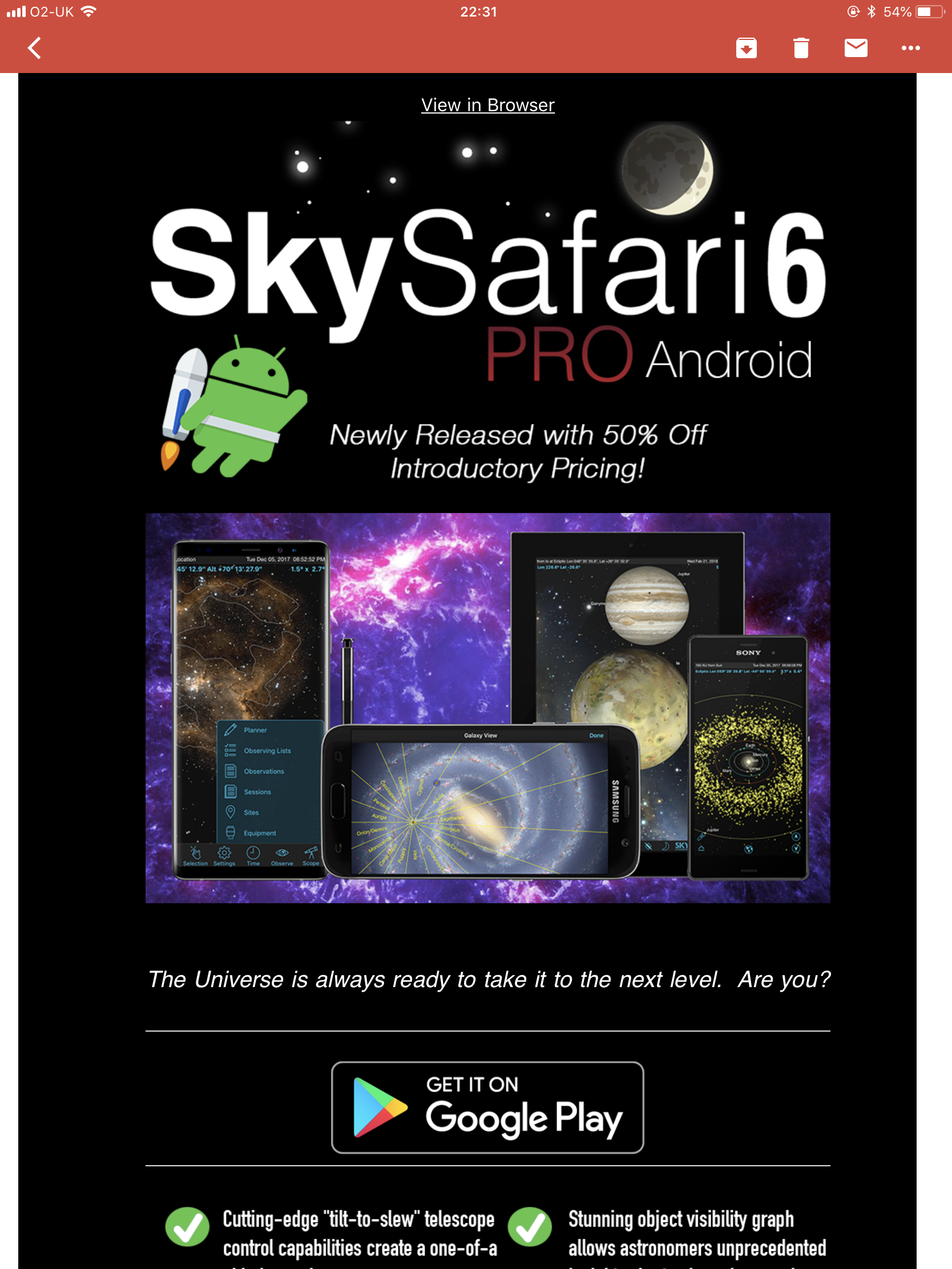 Skysafari 6 Pro Android version arrived 50% off