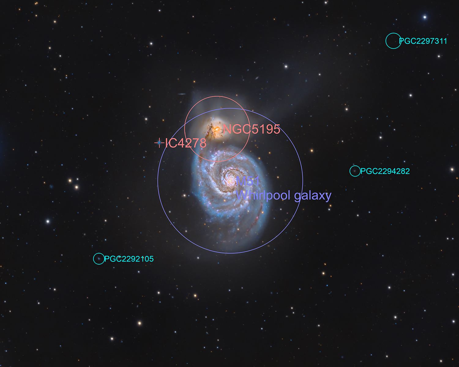 M51 and fuzzies (annotated)
