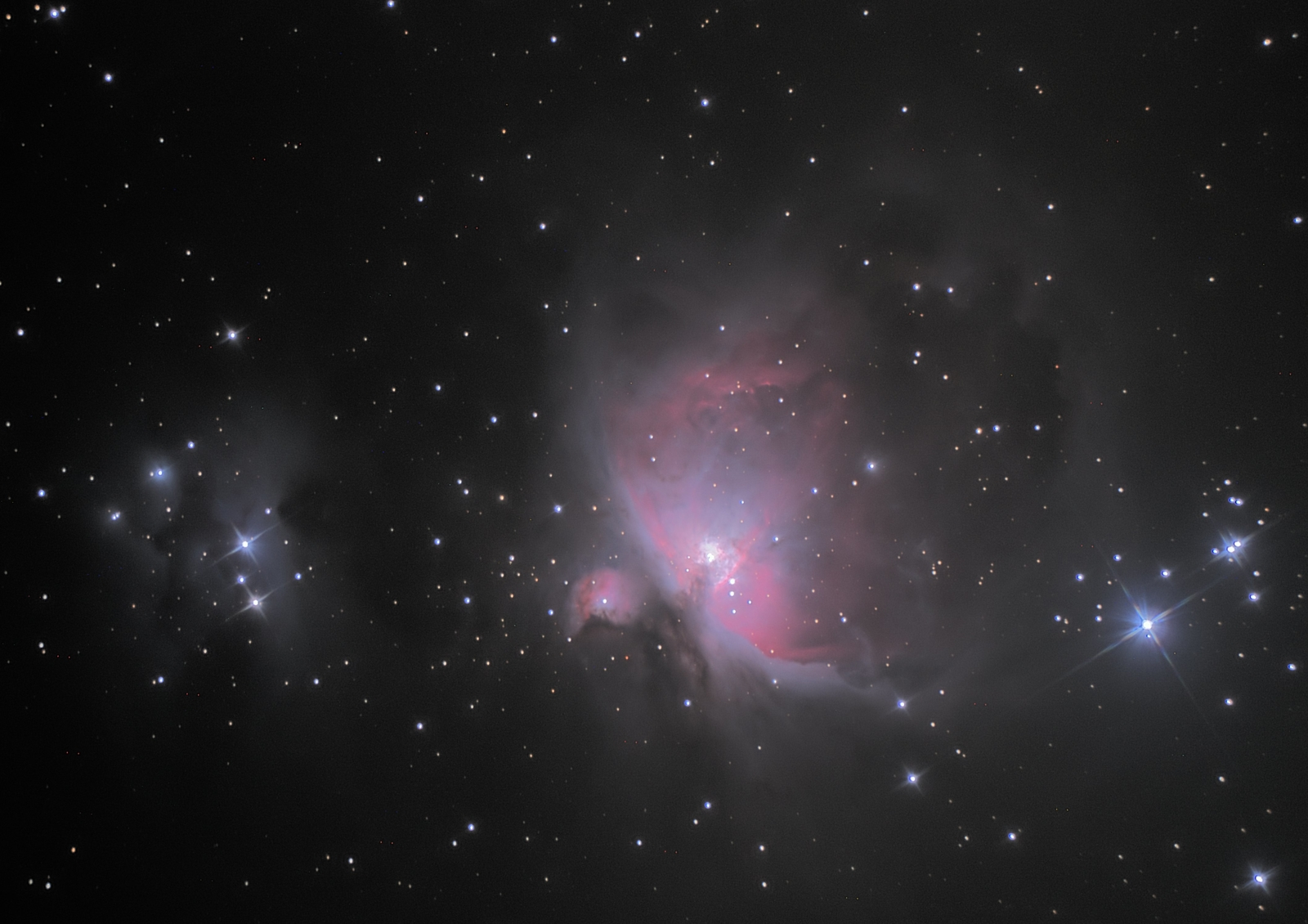 The great Orion nebula (M42) with De Mairan and Running man