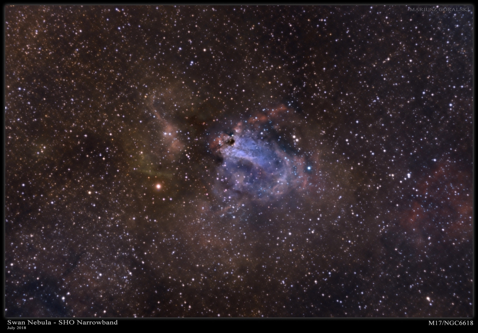 The Swan Nebula/Omega Nebula (M17) in Narrowband