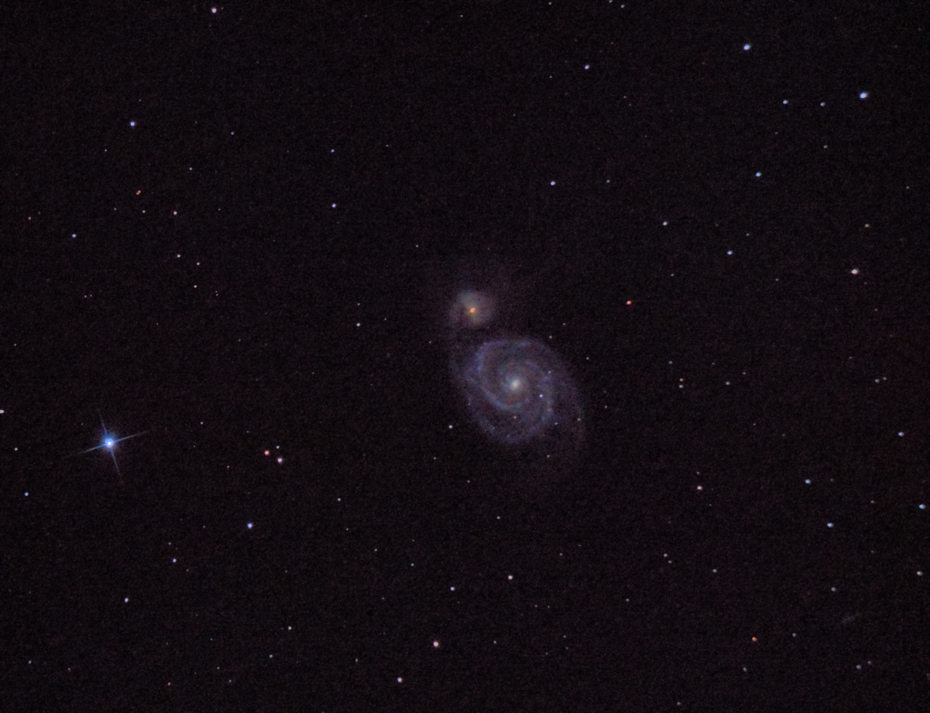 M51 Whirlpool Galaxy. 750mm F/5. 2 min 30 s ISO 800 unguided. Skywatcher 150P and Nikon D3200