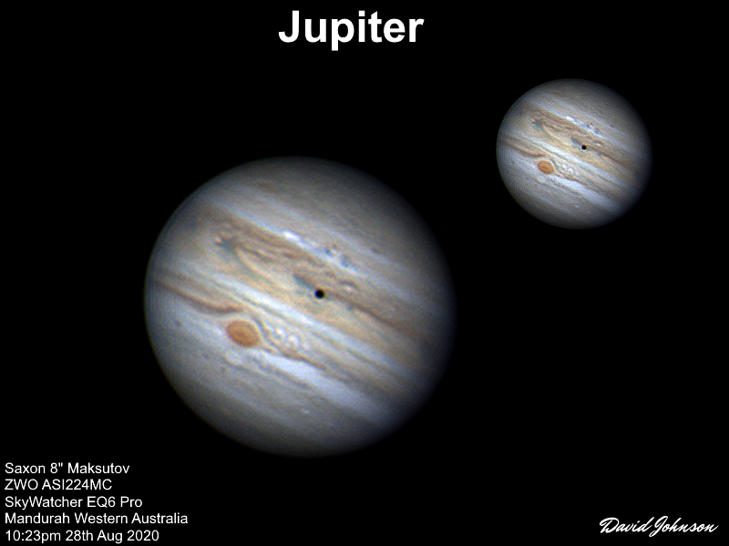 Jupiter GRS, Io Moon Transit, Oval BA, Outbreak - 8in Mak 224mc 27th Aug 2020