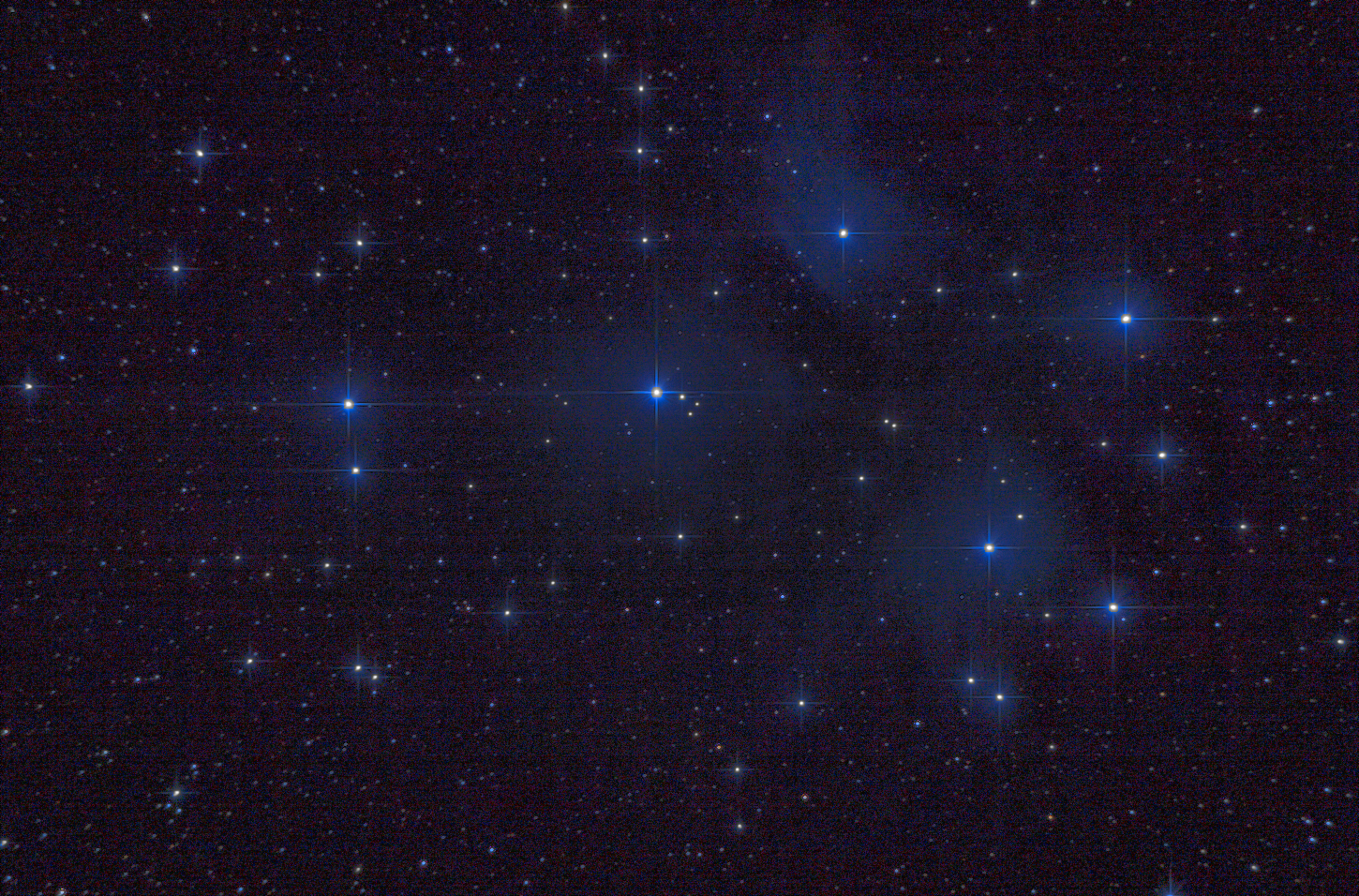 M45 Pleiades. 12min 30s, ISO 100 at F/5. Unguided